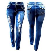Jack David Womens Plus Size Distressed Ripped Destroy Blue Denim Jeans Skinny/Bootcut Pants