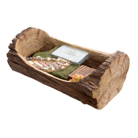 - Darice Fairy Garden Planters: Open Log Planter with Stone Walkway & Patio Areas