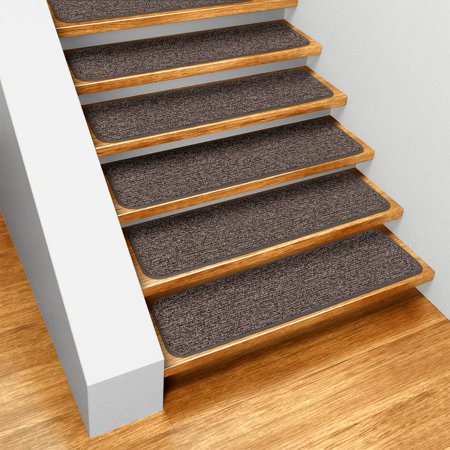 Set Of 15 Skid Resistant Carpet Stair Treads Pebble Gray