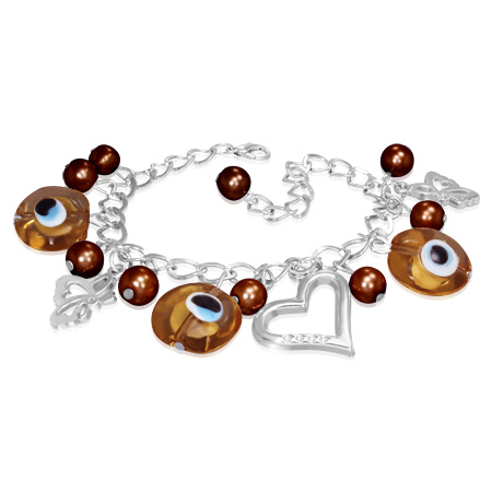 Fashion Alloy Brown Evil Eye Beads Ball Heart Butterfly Charm Womens Bracelet
