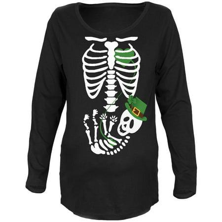 Halloween Irish Baby Skeleton Black Maternity Soft Long Sleeve T-Shirt (Halloween Breaks Ireland)