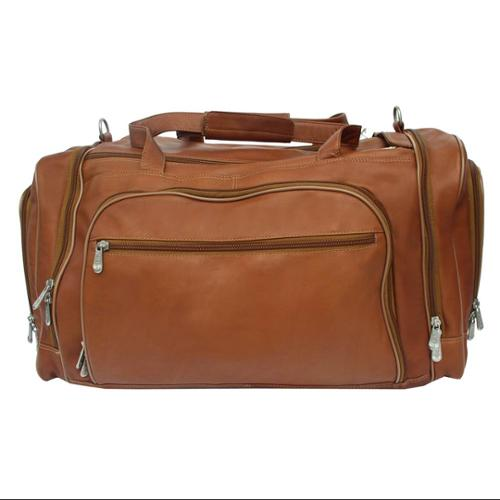Leather Duffel Bag w 2 Large Side Compartments in Saddle