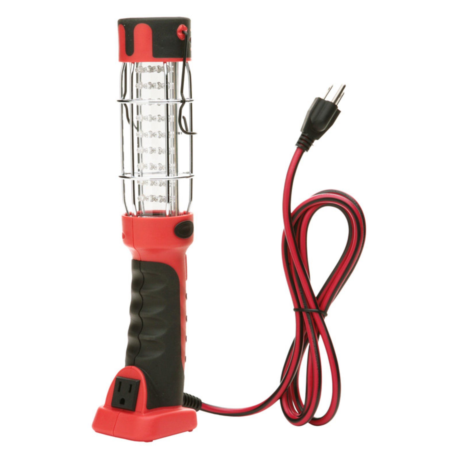 Woods 36-LED Hand Held Work Light with Grounded Outlet, 6-Foot Cord, Red