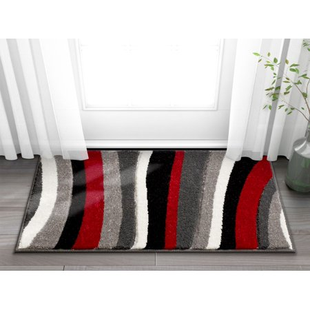 Well Woven Temptation Waves & Stripes Red, Grey, Ivory Modern 2x3 (1'8