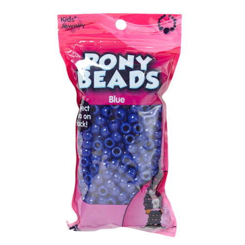 Kids Craft Plastic Pony Beads, Royal Blue