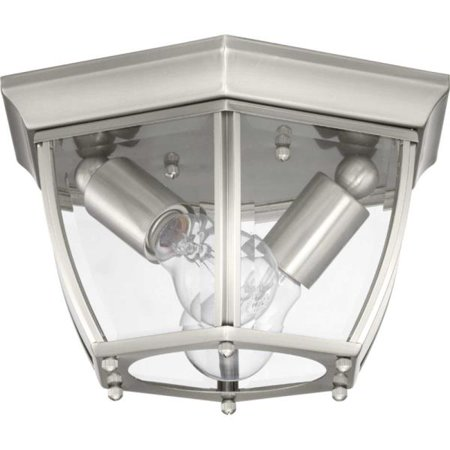 New Haven Collection Two-Light Outdoor Flush Mount, Brushed Nickel