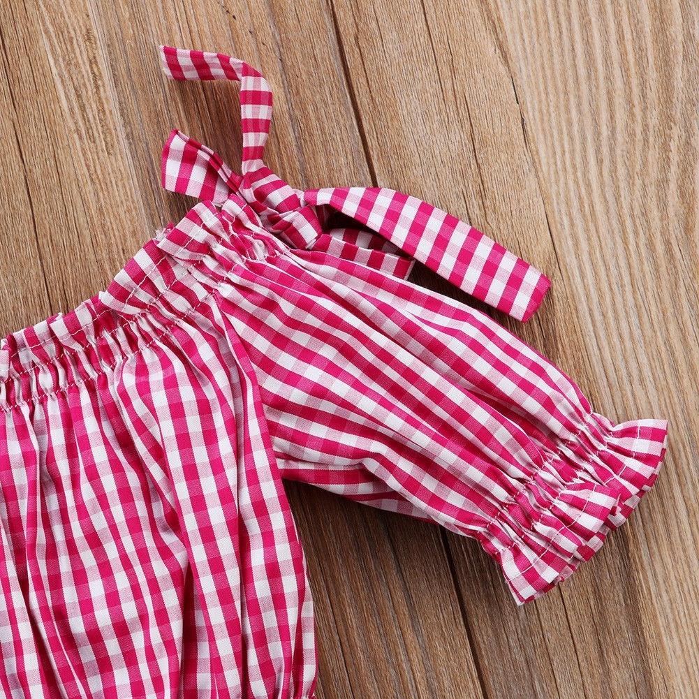 Plaid Lace Denim Top Shorts Off Shoulder Fashion Toddler Children Girls Clothing