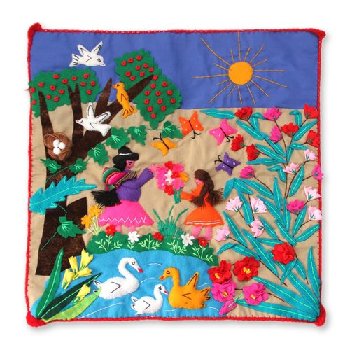 Zoomie Kids Happel Applique Mother's Day Pillow Cover