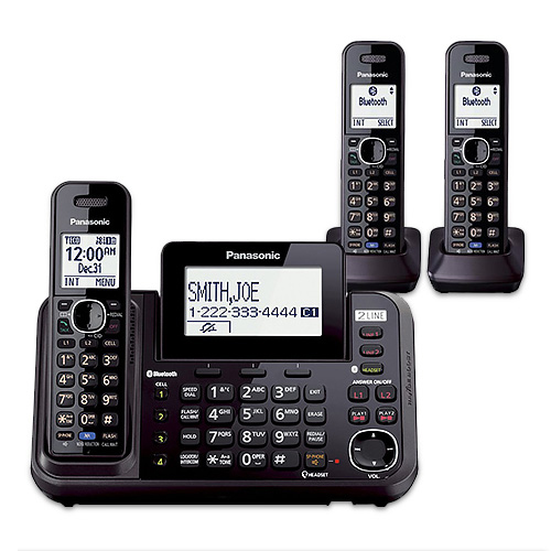 Panasonic KX-TG9543B DECT 6.0 Plus 2-Line Operation 3 Handset Cordless Phone Bluetooth LinkToCell by Panasonic