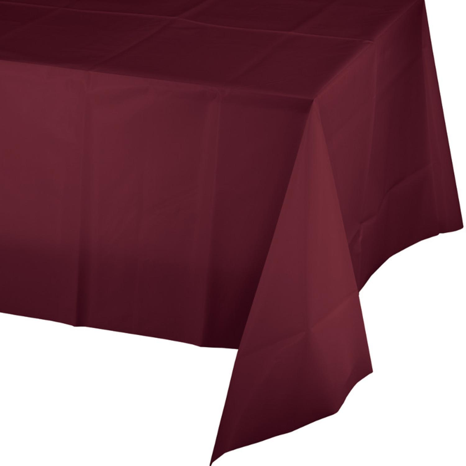 Club Pack of 12 Burgundy Disposable Plastic Banquet Party Table Covers 108
