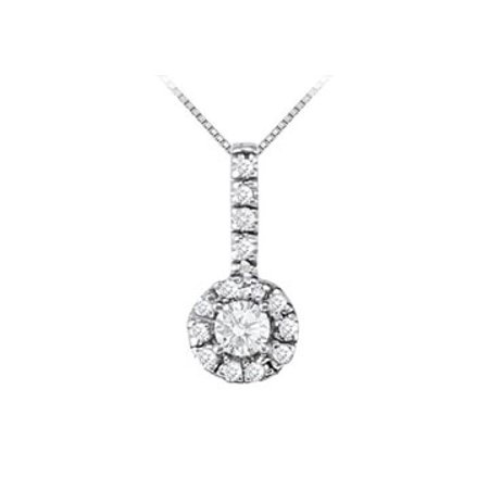 Fancy Round Cubic Zirconia Halo Pendant in 14K White Gold - image 1 de 2
