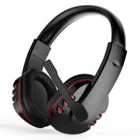Stereo Gaming Headset for PS4, Xbox One, PC, Noise Cancelling Over Ear Headphones with Mic, Bass Surround, Soft Memory Earmuffs for Laptop Mac Nintendo Switch Games