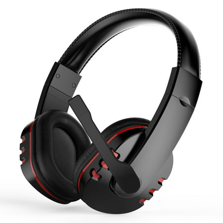 Stereo Gaming Headset for PS4, Xbox One, PC, Noise Cancelling Over Ear Headphones with Mic, Bass Surround, Soft Memory Earmuffs for Laptop Mac Nintendo Switch (Mic Switch)
