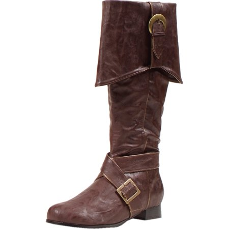 MENS SIZING 1 Inch Heel Pirate Boots With Criss Cross Straps and Buckled Cuff