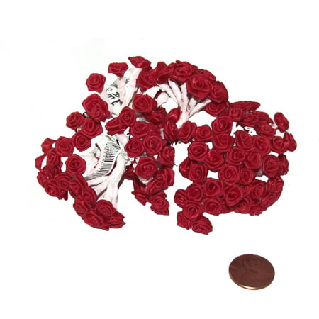 144 Silk Mini Wrap Roses Wedding Shower Flower Picks - - Silk Red Roses