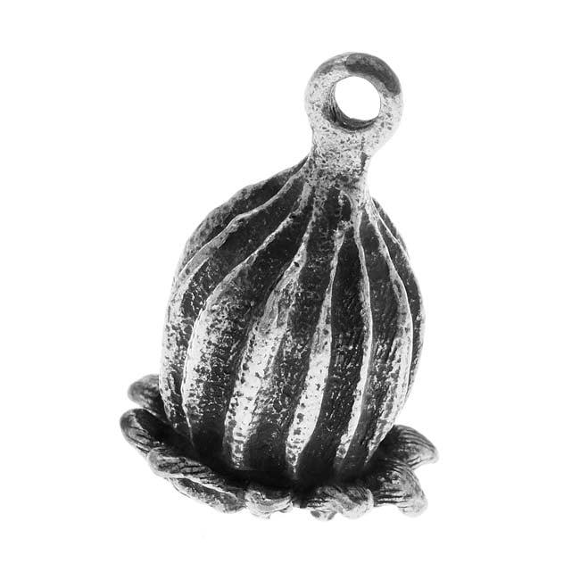 Nunn Design Antiqued Silver Plated Large Poppy Pod Focal Pendant 29mm (1)