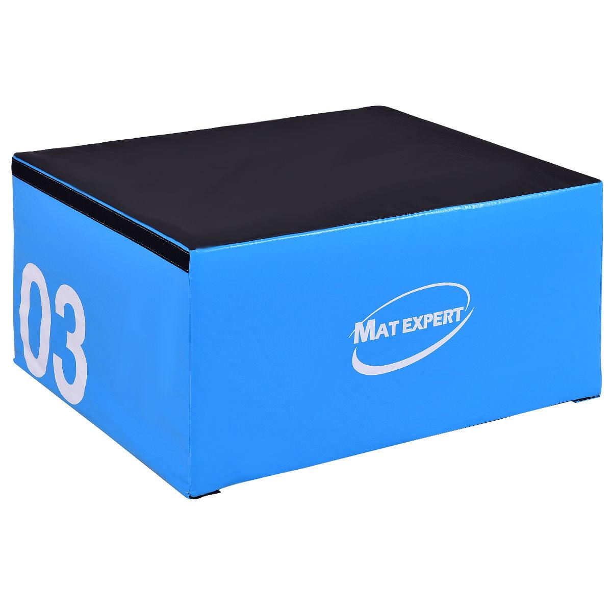 Gymax 18'' PVC Soft Foam Jumping Box Plyometric Exercise Blue
