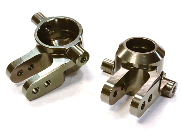 Integy RC Toy Model Hop-ups C26400GREY Billet Machined Steering Knuckles for Traxxas 1 10... by Integy
