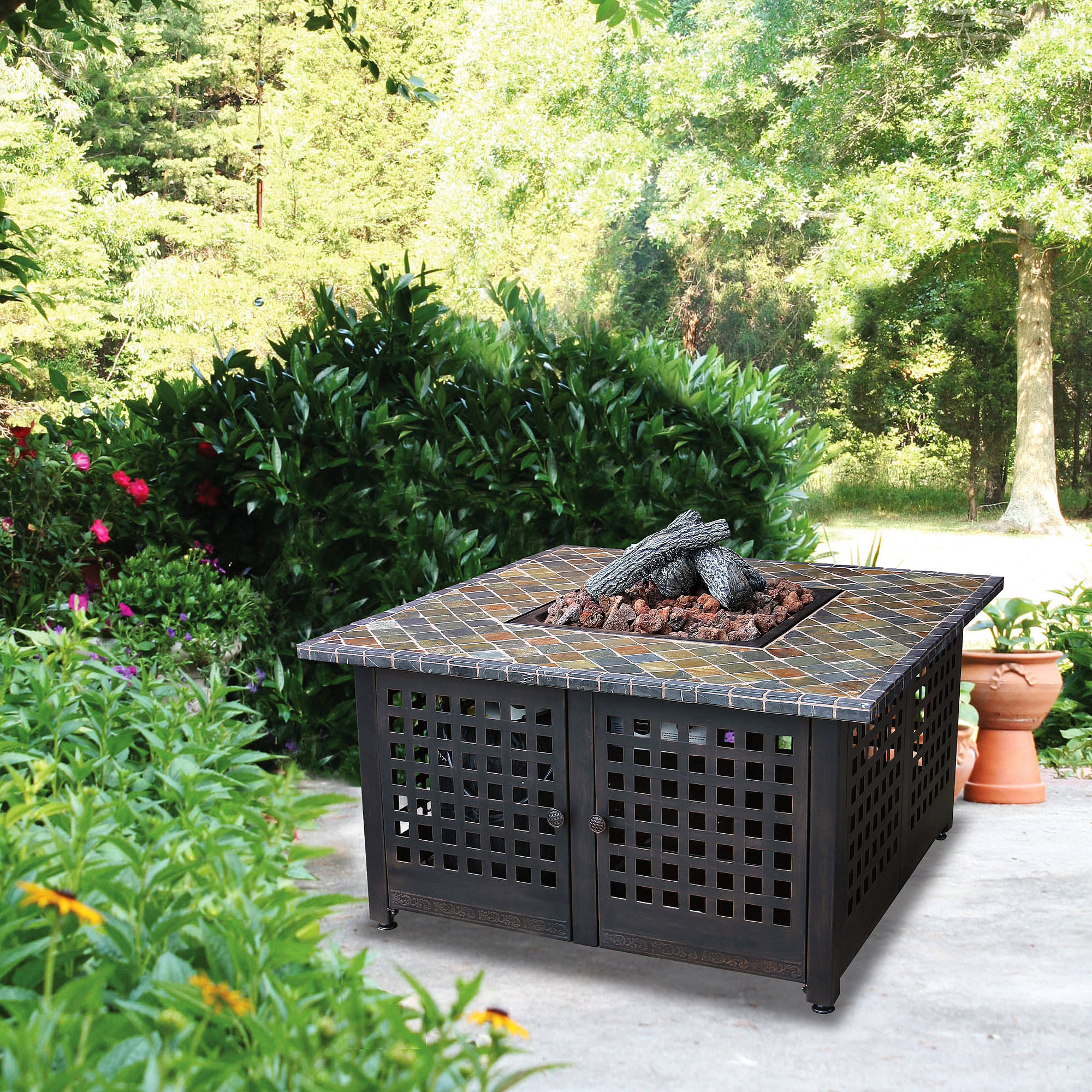 Square LP Gas Fire Pit with Slate Mantel