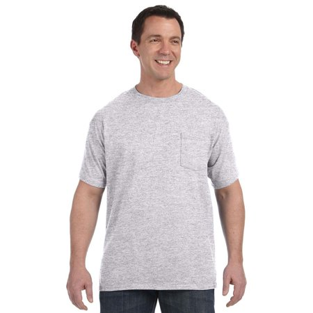 hanes tagless comfortsoft short sleeve pocket t shirt ash