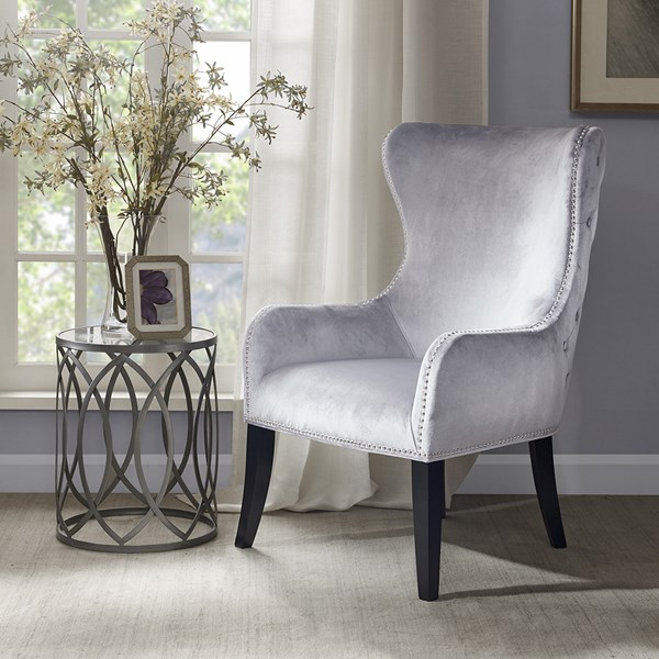 Madison Park Hancock Wood And Birch Chair In Silver Finish MP100-0025