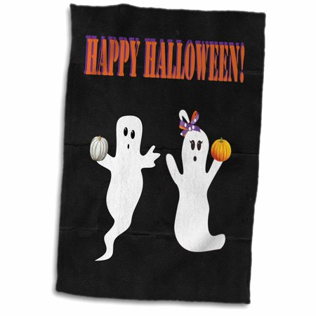 Happy Halloween Pumpkins White (3D Rose Boy and Girl Ghosts with White and Orange Pumpkins Happy Halloween Hand Towel 15 x)