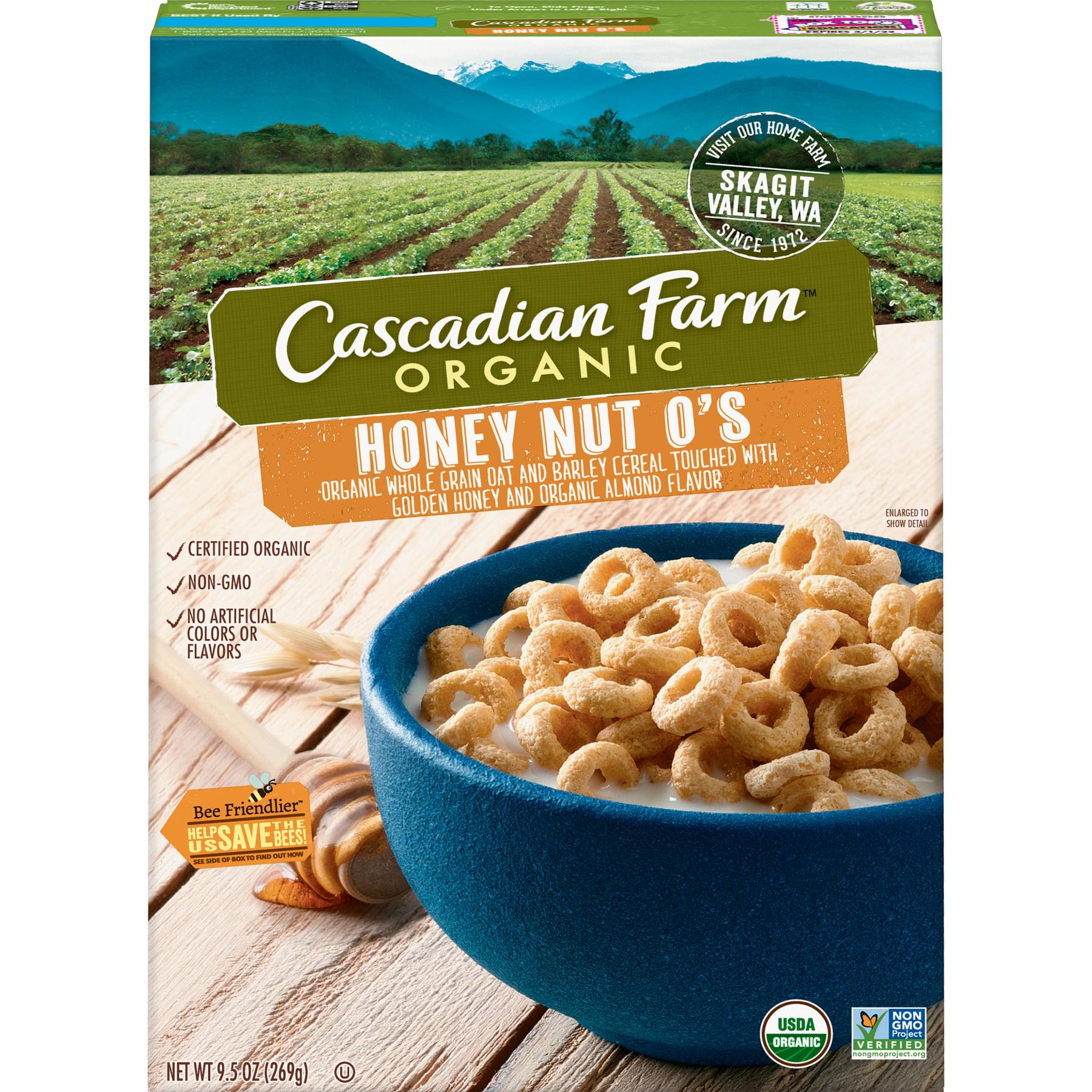 (2 Pack) Cascadian Farm Organic Cereal, Honey Nut O's, 9.5 oz
