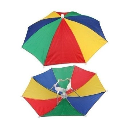 12 Pack Rainbow Umbrella Hat Cap Multicolor Hands Free with Head Strap for Beach (12) (Umberlla Hat)