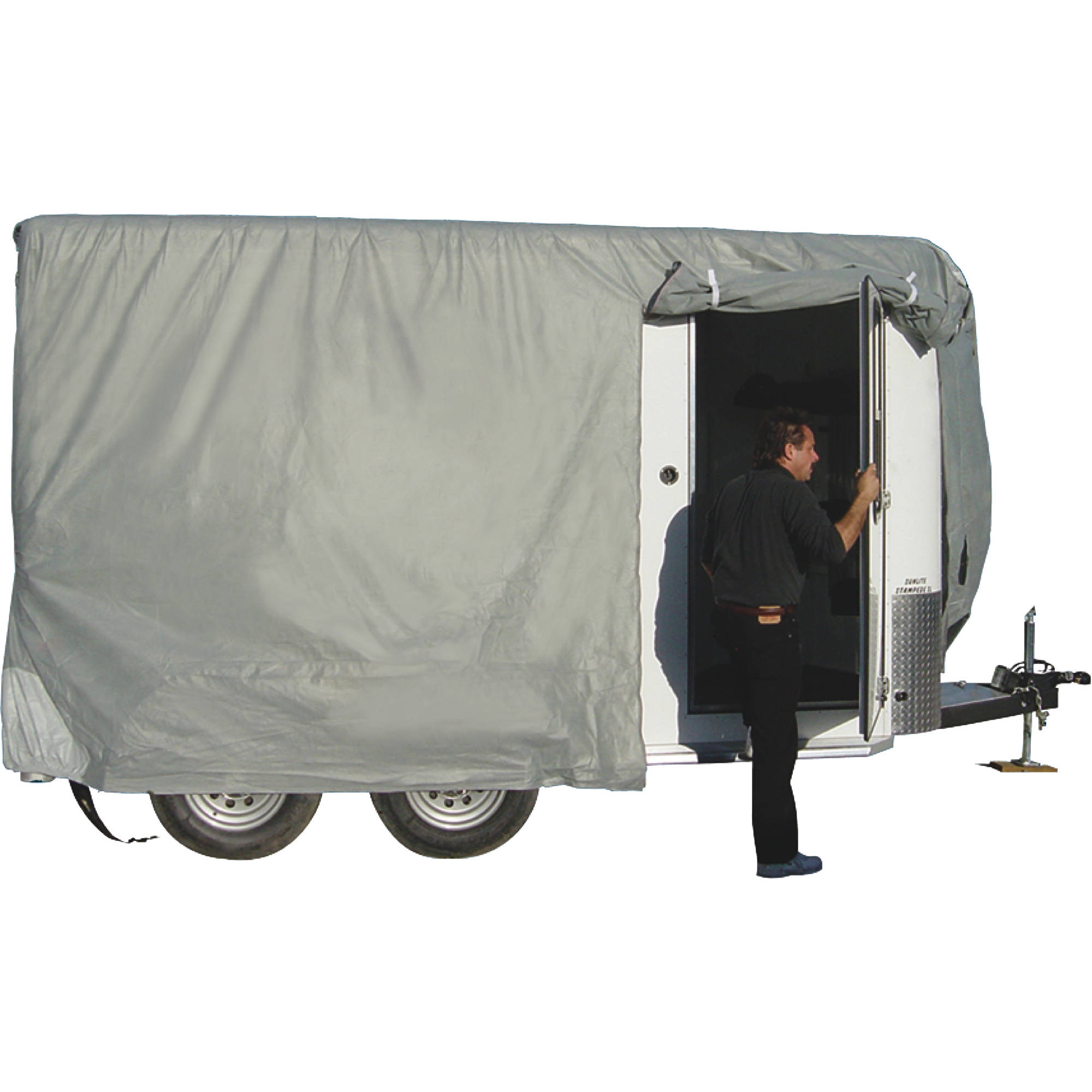 ADCO Bumper Pull Horse Trailer Cover, Grey SFS Aquashed Top/Grey Polypropylene Sides