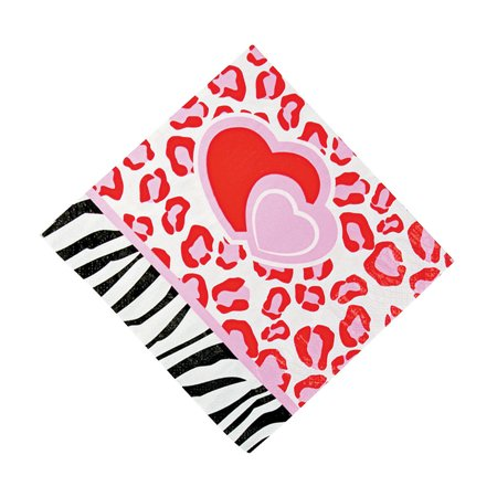 Wild For You Lunch Napkins for Valentine's Day - Party Supplies - Print Tableware - Print Napkins - Valentine's Day - 16 Pieces (Valentine Supply)
