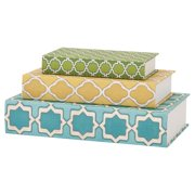 Classy Maines Geometric Print Book Boxes - Set of 3