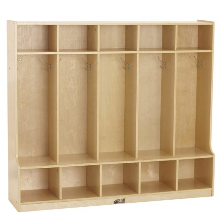ECR4Kids Birch 5-Section Coat Locker with Bench on coat cubbies for the home, brownstone plans, cubby bench plans, home locker plans, storage locker plans, coat trees ikea, locker bench with plans, wood locker plans, mud room building plans, mudroom storage plans, table plans, entryway locker plans,