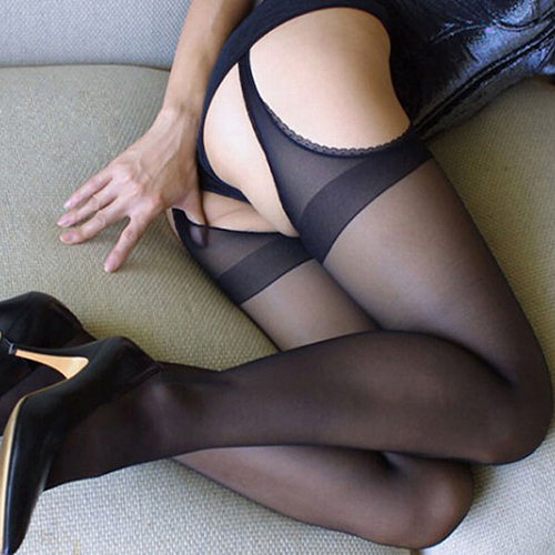 Girl12Queen Women's Sexy Stockings Black Open Crotch Lace Edge Hollow Pantyhose Socks Tights