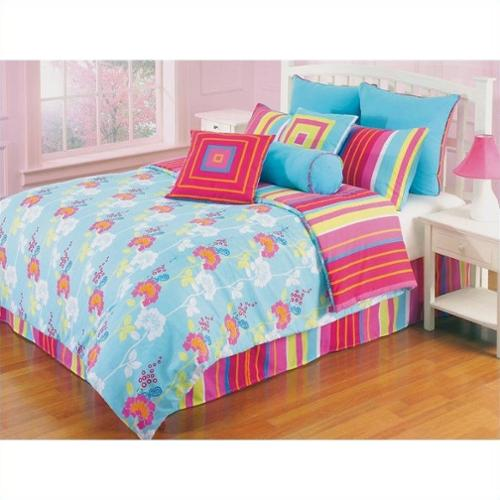 Kids Funky Flower 3 Piece Twin Comforter Set in Multicolor