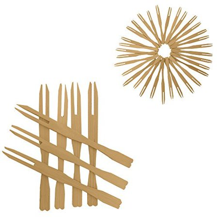 - 100 Mini Wooden Cocktail Fork Sticks, 3.5 Inch Bamboo Skewers.Splinter-Free Toothpicks.Includes 100 Bamboo Two Prong Sharp Fork Sticks. Perfect For Parties, Buffets, Food Tastings And Much More.