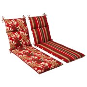 Outdoor Patio Furniture Chaise Lounge Cushion - Reversible Tropical Red Stripe