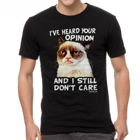 Grumpy Cat Opinion Men's Black T-shirt NEW Sizes S-2XL](Halloween Meme Grumpy Cat)