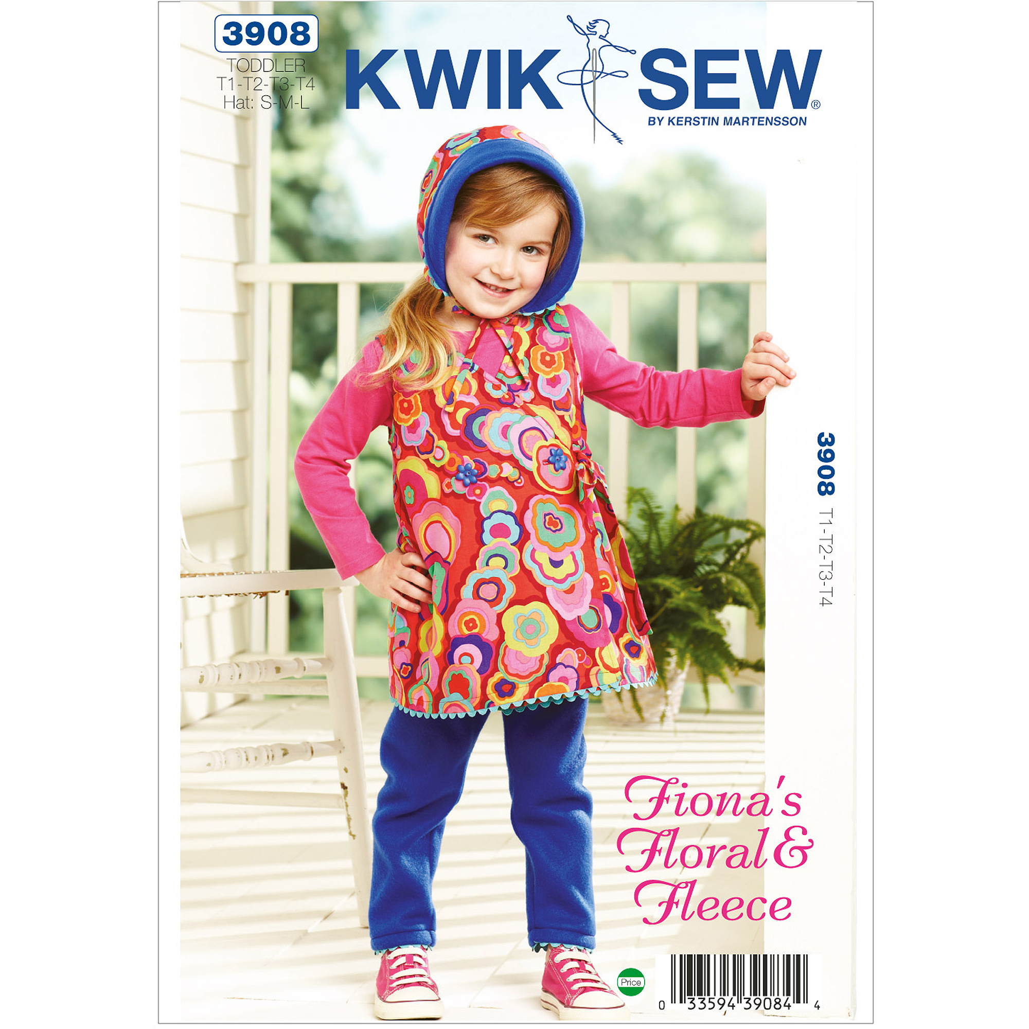 Kwik Sew Pattern Fiona's Floral and Fleece, (T1, T2, T3, T4), Hat: (S, M, L)
