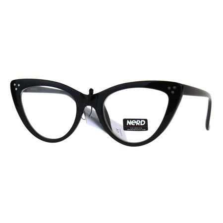 Womens Designer Goth Cat Eye Clear Lens Eye Glasses Black ()