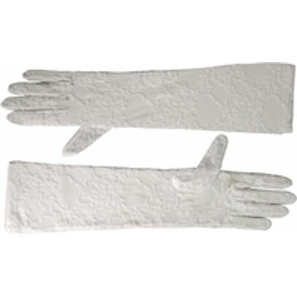 Adult White Opera Length Stretch Lace Gloves