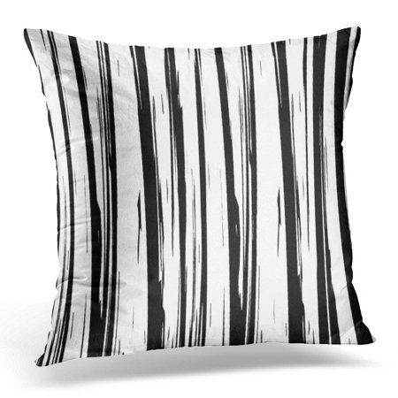 ECCOT Vertical Pattern with Strokes Abstract Using Brush Black and White Line Paint Pillowcase Pillow Cover Cushion Case 16x16