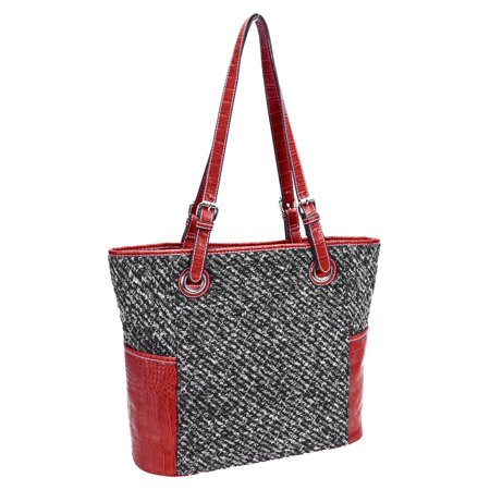 Parinda 11175 MELODY Quilted Fabric with Croco Faux Leather Tote - Tweed Smoke