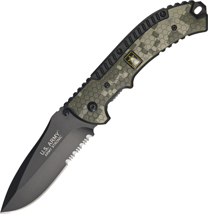 Elite Tactical A-A1007CS US Army Half Serrated Blade Spring Assisted Folder Knife, 5-Inch Closed Le Multi-Colored