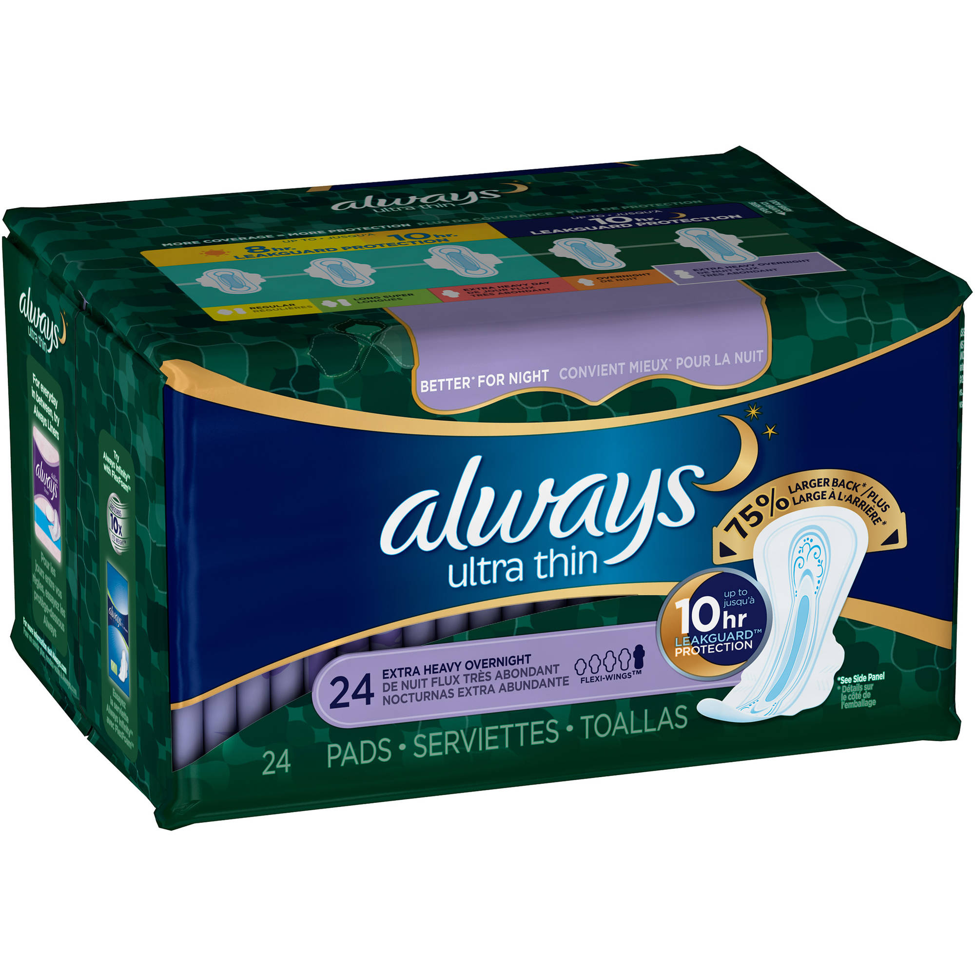 Always Ultra Thin Extra Heavy Overnight Pads, 24 count