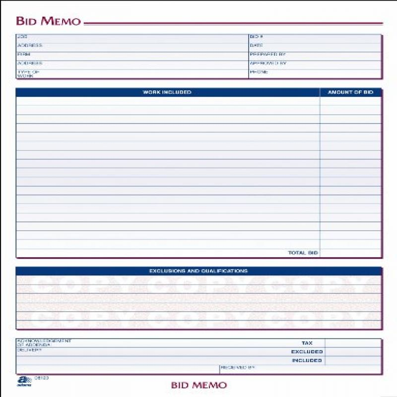 Adams Bid Memos, 8.38 x 11.44 Inches, White, 50 Sheets (D...