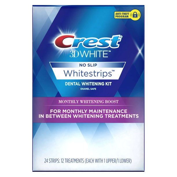 Crest 3d White Whitestrips Monthly Whitening Boost Teeth Whitening Kit 12 Treatments Walmart Com Walmart Com