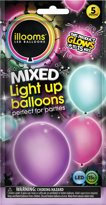 Illooms Light Up Balloons 5pk Pink Turquoise And Purple Walmart Com