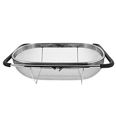 U.s. Kitchen Supply   Premium Quality Over The Sink Stainless Steel Oval  Colander With Fine Mesh