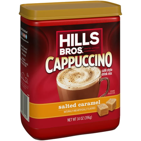Instant Caramel - (2 Pack) Hills Bros. Salted Caramel Cappuccino Instant Coffee Mix, 14 Ounce Canister