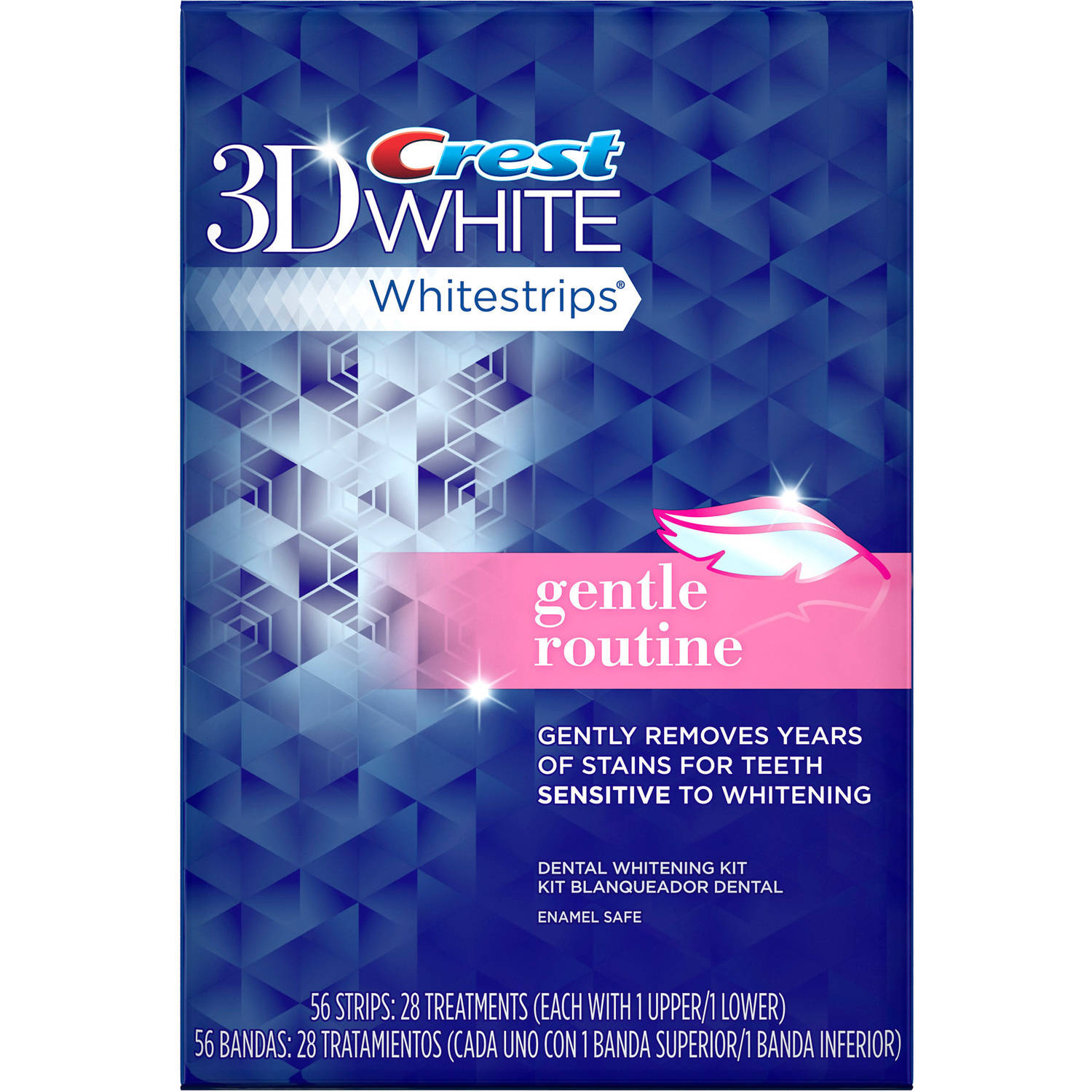 Crest 3D White Whitestrips Gentle Routine Enamel Safe Dental Whitening Kit, 28 count